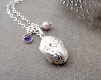 Small Locket Necklace, Silver Oval Locket, Sterling Silver Locket, Birthstone Locket, February Birthstone, June Birthstone, Amethyst Locket