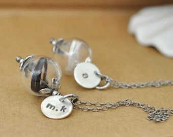 dainty antiqued sterling silver necklace ANGELIC glass bubble with white or black feathers, personalized initial letter necklace, customized
