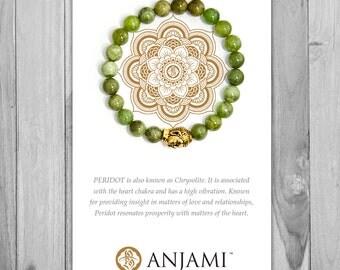 PERIDOT Bracelet,Mala Bracelet,Beaded Bracelet,Gemstone Bracelet,Yoga Jewelry,Inspirational Jewelry,Healing Jewelry, Gift for Her