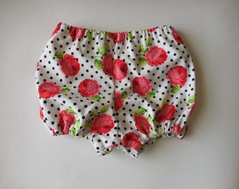 Pink roses and polka dots diaper covers bloomers