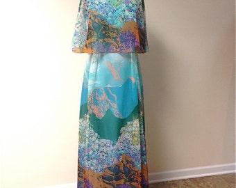 Vintage 1970s Miss Elliott Asian Floral Scenic Chiffon Gown/Maxi