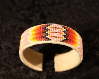 Buckskin and Beadwork  Cuff Bracelet
