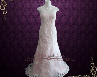 Modest Vintage Lace Pink Wedding Dress with Cap Sleeves, Modest Wedding Dress, Vintage Inspired Wedding Dress, Lace Wedding Dress   July