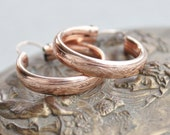 Antique Victorian Rose Gold Vine and Berry Hoop Earrings