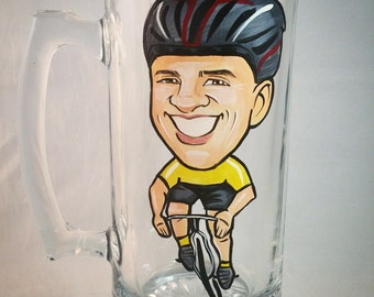 Groomsmen Gift - Caricature Beer Mug - Hand Painted Beer Mug - Hobby Theme