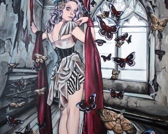steampunk lowbrow art print gothic circus girl with moths