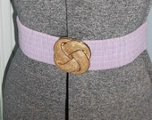 Lavender Pleated Stretch Belt with Cream Enamel Swirl Buckle