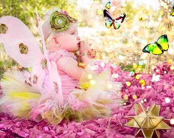 First Birthday Tutu Outfit, Fairy Pink Sage Green Glitter Gold Full Tutu Ruffle Petti Top, Fairy Wings w Flowers boutique photo prop costume