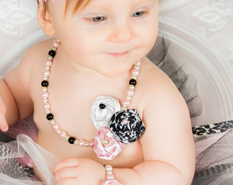 Little Girl Pearl Necklace, Fabric Rosette Flowers Pink White Black Damask Glass Bead Jewelry toddler flower girl Baby first birthday outfit