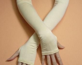 Long Vanilla Fingerless Gloves Armwarmers with Thumb Holes Simple Creamy Mittens Regency Art Deco Retro Classic Boho Shabby Chic Armstulpen