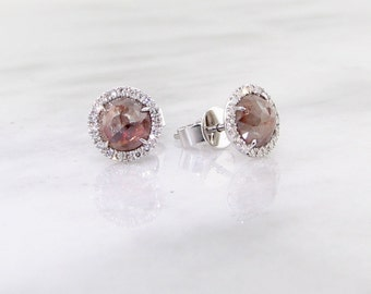 Rose Cut Rough Diamond Earrings, Rare Red Jewel