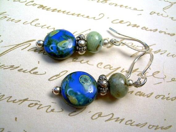 Sterling Silver Deep Blue Czech Bead Dainty Drop Dangle Earrings