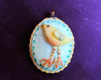 Jewelry Pendant, Bird Pendant, Handmade Yellow Bird, Oval Clay OOAK Pendant, Accessory Jewelry, Girl's Gift, Fun Jewelry, Birthday Gift
