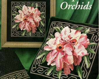 Tropical Orchids Shades of Pink Flowers Green Leaves Background Greek Key Border Counted Cross Stitch Embroidery Craft Pattern Leaflet 2229