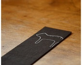 Bookmark - Brown Leather Bookmark -  Cat Leather Bookmark - Japanese Paper Bookmark