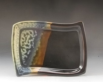 Handmade Pottery Tray Ebony Brown Blue and Fern Glazes by Mark HudakHudak