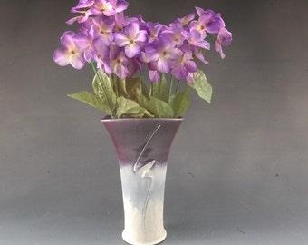 Pottery Vase Purple Lavender Decorative flower display Porcelain by Mark Hudak