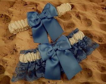 Cornflower Blue Lace Satin Ivory Satin Wedding Garter Bridal Set