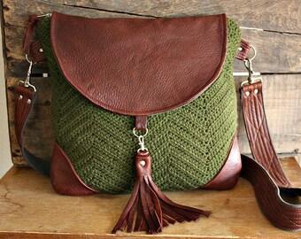 Crossbody sweater wool purse bag handbag messenger satchel leather trim Moss green/Brown--- Ready to Ship--