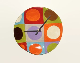 Unique Wall Clock Bold Geometric Ceramic Plate Clock Circles Squares Colorful Clock Dorm Decor Home Decor Wall Decor 8-1/2 Inches  No. 1099