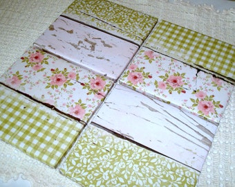 Pink and Green Floral Coasters with Wrapped Edges, Fully Wrapped Ceramic Tile Coasters, Cottage Chic Home Decor, Housewarming Gift - 032