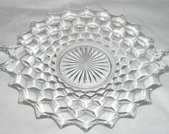 Fostoria American Glass Handled Cake Plate 12in