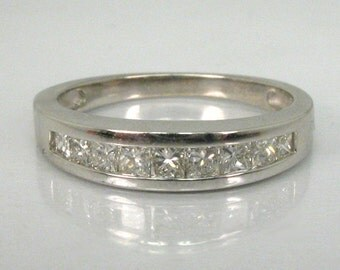 Princess Cut Diamond Wedding Ring - 0.42 Carats Diamond Total Weight - Appraisal Included