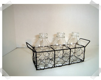 Metal Chicken Wire Basket with Handle/3 Glass Bottles/Home Decor/Supplies*