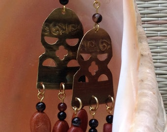 Bell-shaped Brass and Wood Earrings by Antonette Cely