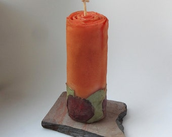 Beeswax Cinnamon Spice Rose Pillar w/Slate Base, Fall Candles, Orange Candle, Thanksgiving Decor, Unique Candle Gift Set, Autumn Decor, Ooak
