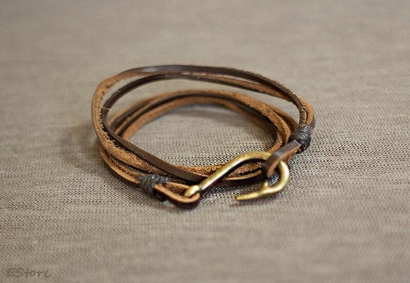 Men leather bracelet leather fish hook bracelet vintage for Mens fishing bracelet
