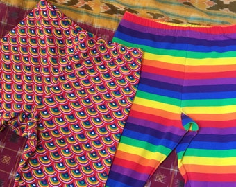 Rainbow Leggings! capri length prewashed cotton/lycra FREE SHIPPING!