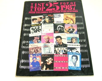 The 1st Top 25 Pop of 1987, Easy Piano, Vintage Music Book