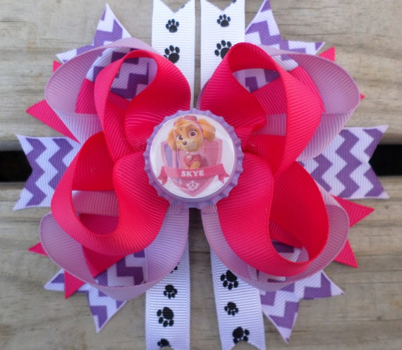 Skye Paw Patrol Stacked Boutique Hair Bow