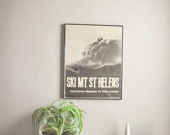 Vintage Mt St Helens Explosion Poster 1980s Ski Humor