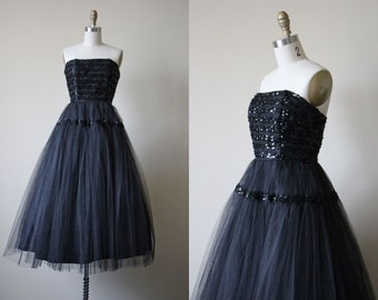 1950s Dress - Vintage 50s Dress - Black Tulle Sequin Strapless Party Prom Dress XS - In a Deep Dark Wood Dress
