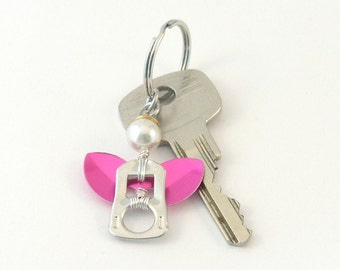 pink pop tab angel keychain, soda can tab angel keyring,  soda tab angel bag charm, angel key charm, upcycled keychain, recycled keychain