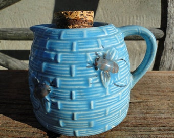 Sale-Vintage Little Blue Honey Pot Pitcher-Bees
