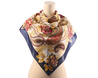 Bohemian Wrap Scarf 80s Boho FRENCH WOOL Shawl Floral Paisley Print Shawl Cream White Navy Red Large Neck Wear Urban Boho Moms Women Gift