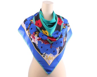 ABSTRACT Neck Scarf 80s Bohemian CREPE SILK Vintage Green Blue Red Floral Shawl 33 in Square Rolled Edges Hippie Boho Womens Moms Gift