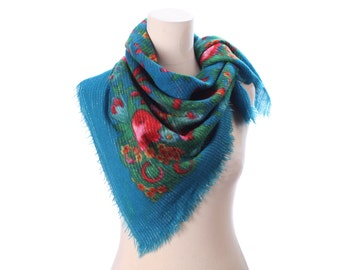 Blue RUSSIAN Scarf 70s Red Rose Thin Wool Shawl Wrap Russia Babushka Flower Print Silver Threaded Bold Flowers Large Neck Warmer Gift Idea