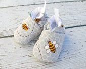 SALE Buzzy Bee All Fabric Soft Sole Shoes / Made to Order / Babies