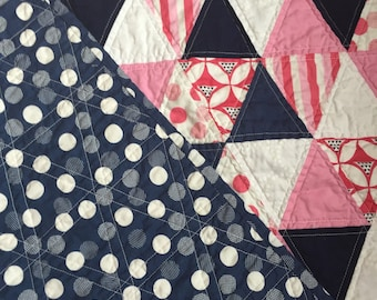 Baby/Toddler Triangle Quilt, Pink and Navy, Polka Dot, Stripes, V & Co. Color Theory, Moda Fabric