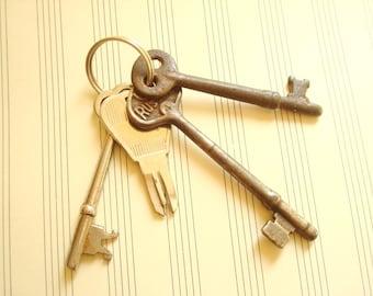 Funky old key set, vintage skeleton keys on keyring as found, Russwin key, silver keys, steampunk keys