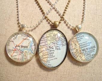 "Vintage map necklace, choose Milwaukee Wisconsin, Las Vegas Nevada or New York, NY, 27"" ball chain, vintage atlas, handmade pendant"