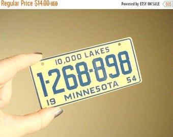 Vintage Minnesota bike plate, bicycle license plate, mid-century cereal premium giveaway, 10,000 Lakes, 1954 license plate