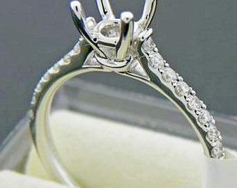 Engagement Ring -  14K White Gold - Moissanite 1 Carat Round Forever Brilliant Center Stone - 16 Diamonds on sides  LJ151