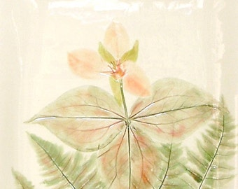 Trillium & Fern XL Ceramic-Watercolor Wall Hanging sculpture by Faith Ann Originals