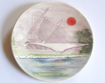 """Milwaukee Lakefront and Art Museum 6"""" Ceramic-Watercolor Wall Hanging sculpture by local artist"""