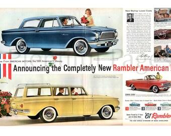 1960 Rambler Vintage Ad, '61 Rambler, Rambler American, Retro Car, 1960's Couple, Advertising Art, American Motors, Great for Framing.